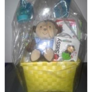 Deluxe Monkey Themed Baby Shower Diaper Cake Gift Basket