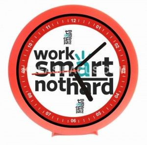 jam dinding motivasi - work smart not hard