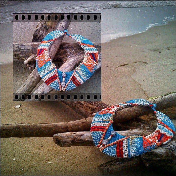 Papagena - handmade zone: Kolia boho/Necklace in boho chic, bead embroidery
