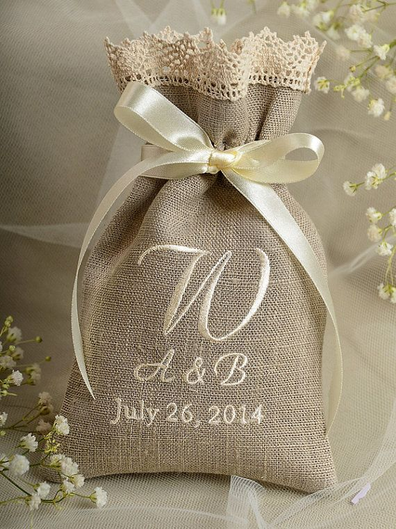 Natural Rustic Linen Wedding Favor Bag Lace by DecorisWedding, $3.20