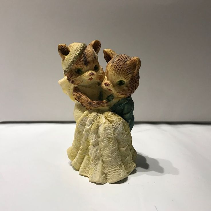 """Fox Bride and Groom Figurine miniture collectible 3"""" tall groom carrying bride"""