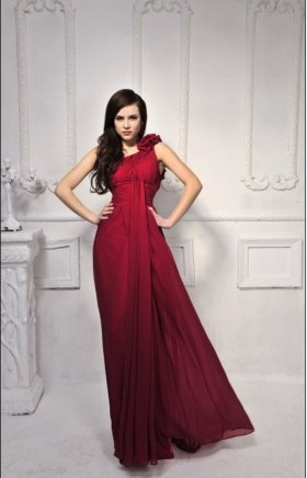 One Shoulder Floral Pleated Long Chiffon Formal Dress        $166.66