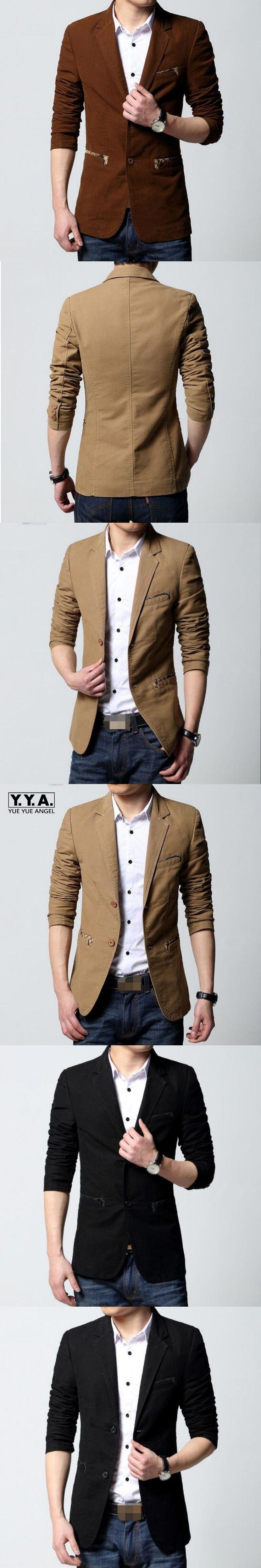 Autumn High Quality 100% Cotton Fashion Men Slim Fit Two Button Casual Coat Suit Blazer Outwear School Jacket For Man Male 6XL