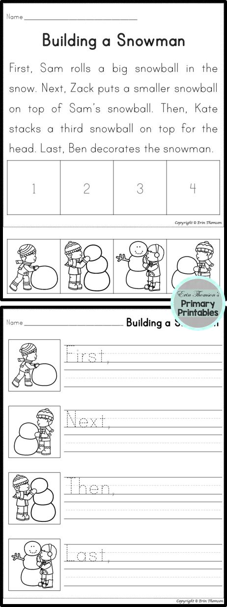 Sequencing Story ~ Building a Snowman (First, Next, Then, Last)