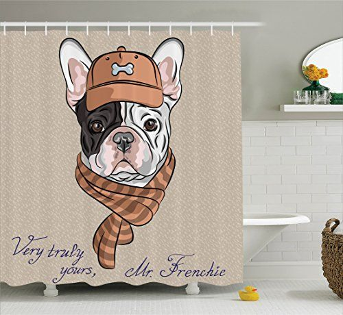 Ambesonne Vintage Decor Collection, Funny Hipster French Bulldog with Cap and Lined Scarf Punk Animal Humor Graphic Art, Polyester Fabric Bathroom Shower Curtain, 84 Inches Extra Long, Ecru Pink Brown