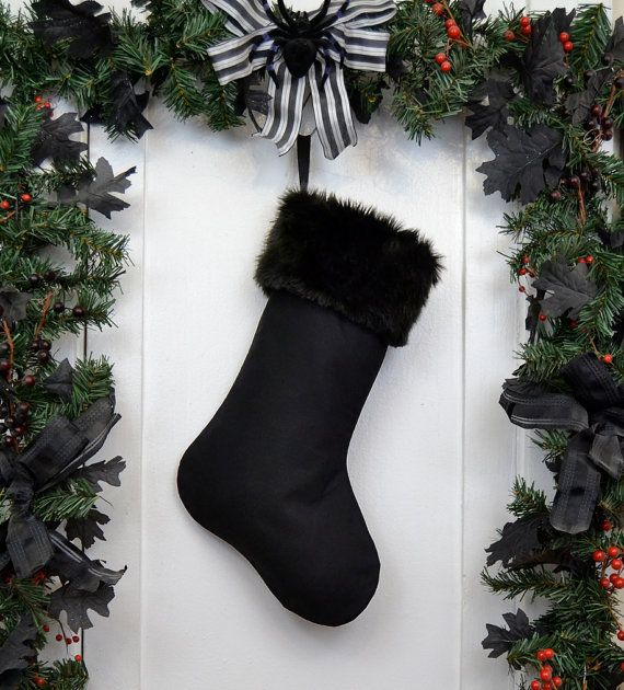 Plain All Black Christmas Stocking with Black by WorkingClassPunx