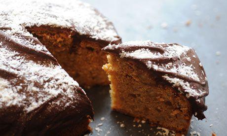 Macadamia ginger cake with lamington icing