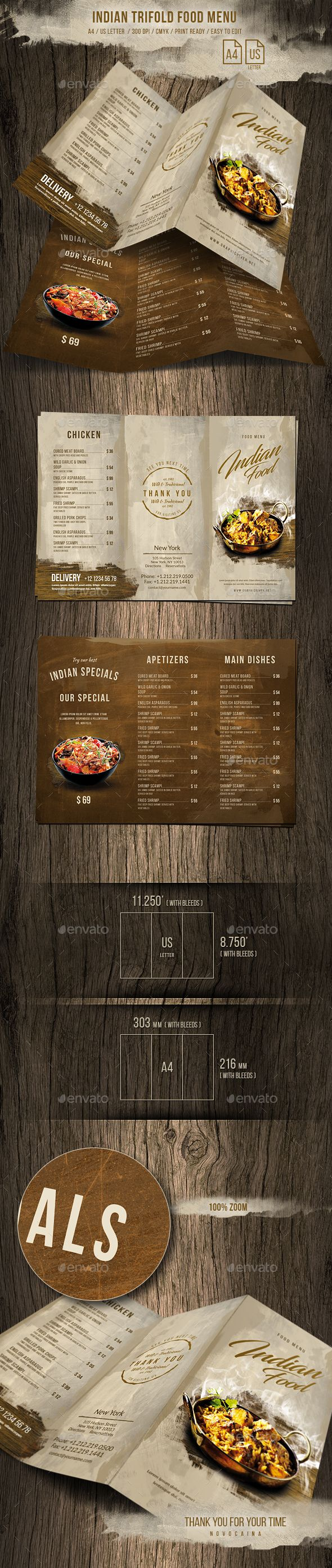 Indian A4 and US Letter Trifold Food Menu - Food Menus Print Templates Download here : https://graphicriver.net/item/indian-a4-and-us-letter-trifold-food-menu/20698642?s_rank=14&ref=Al-fatih #food menu #food menus template #flyer food #design #promotion #template #print templates #restaurant  #bifold #trifold #premium design #table tent