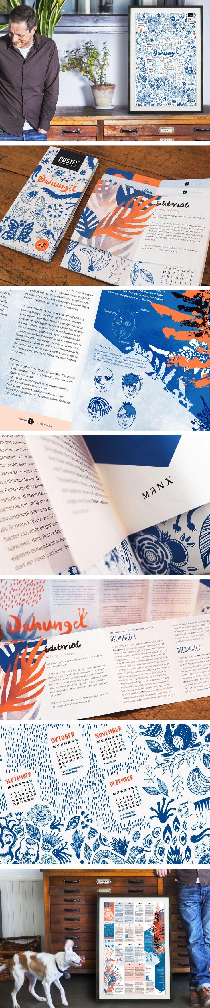 "Postr ""Dschungel"" | Magazin Postr von manxdesign |  manx, agency, Magazin, Plagazin, Poster, Postr, Editorial, Print, Typo, Logo, for free, Illustration, Kalender, 2017, manx, manxdesign, agency | www.manx.de"