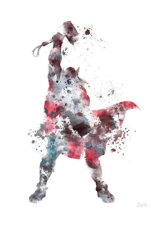 Ilustración de Thor ART PRINT, The Avengers, Marvel, superhéroes, Home Decor, arte de la pared