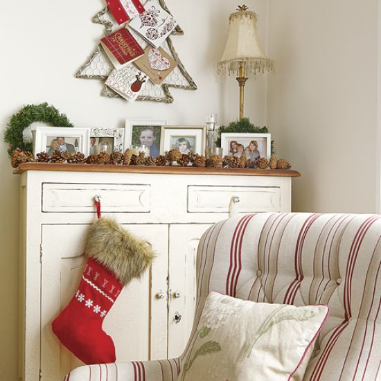 Country Christmas living room with Christmas tree card holder