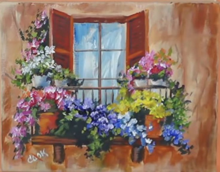 Flowers in the Window on a Balcony (SOLD) 10 x 10 Original by: Ginger Cook - Holly