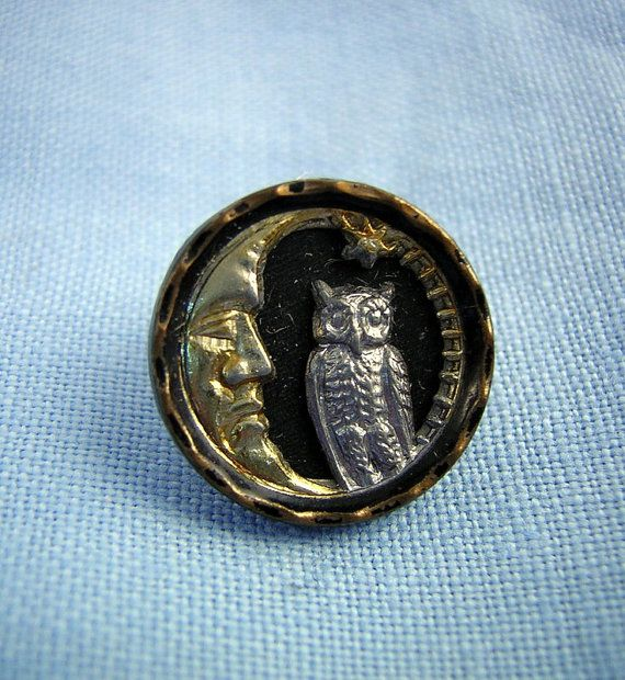 Victorian Picture BUTTON: Antique Owl Man in the Moon by Buttongal
