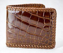Braided cognac alligator wallet by John Allen Woodward