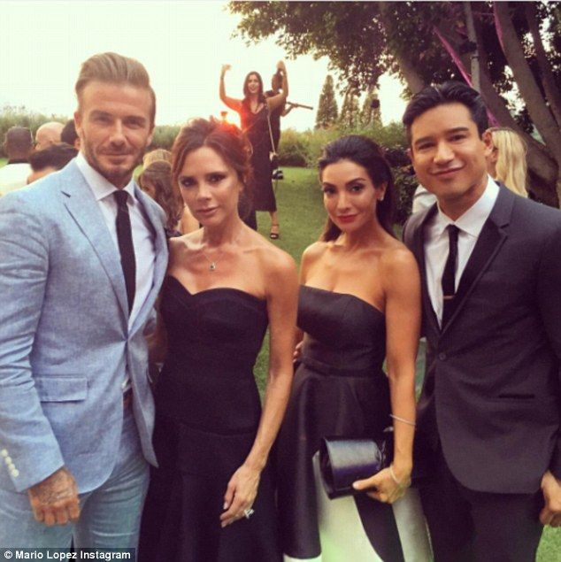 NEWS SUMMER WEDDING Eva LOGROIA Making friends: Mario and wife Courtney befriended Victoria, who wore a strapless black dress, and her husband David