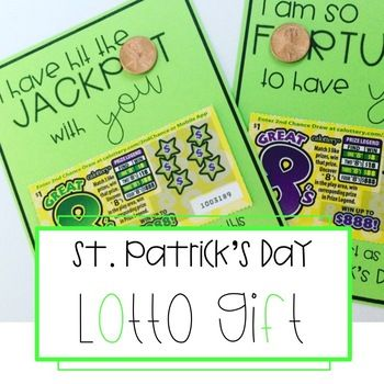 This St. Patrick's Day, tell your friends and coworkers how lucky you are to have them in your life with this lotto gift. Just print the cards, and attach a lotto ticket and shiny penny!