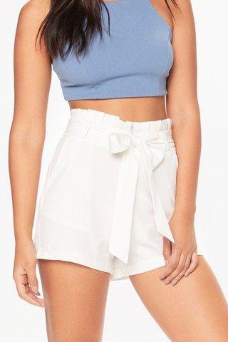 Ellen White Paper Bag Waist Shorts