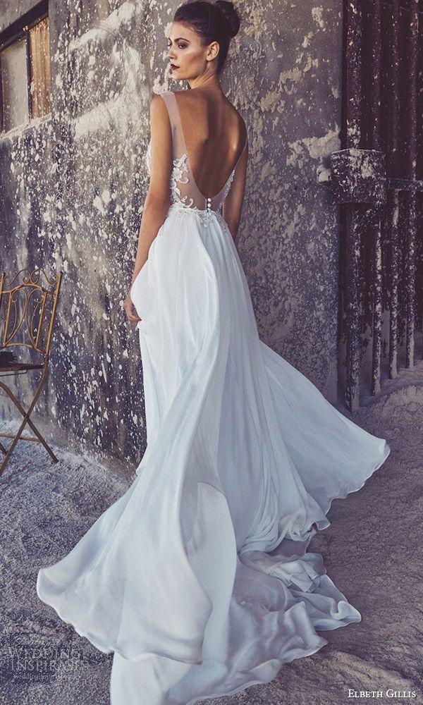 elbeth gillis bridal 2017 cap sleeves illusion bodice scoop neck aline wedding…