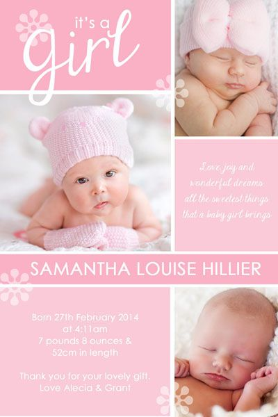 BAG106 Pink Girl Birth Announcement
