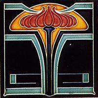 Germany, Norddeutsche Steingutfabrik 150 X 150 mm Art Nouveau tile, press moulded around 1910