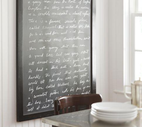 Blackboard: Frames Chalkboards, Potterybarn, Kitchens Wall, Pottery Barns Chalkboards, Chalkboards In Mudroom, Framed Chalkboard, Chalk Boards, Chalkboards Ideas, Chalkboards Frames