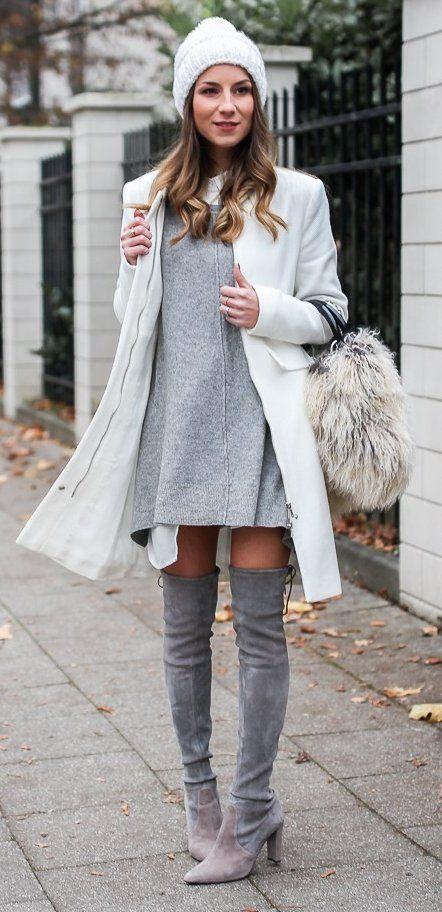 #preppy #fashion /  White Beanie // Grey Dress // White Coat // Grey Knee Length Boots