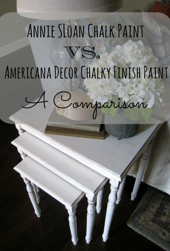 Annie sloan chalk paint vs americana decor chalky paint for Chalk paint comparable to annie sloan