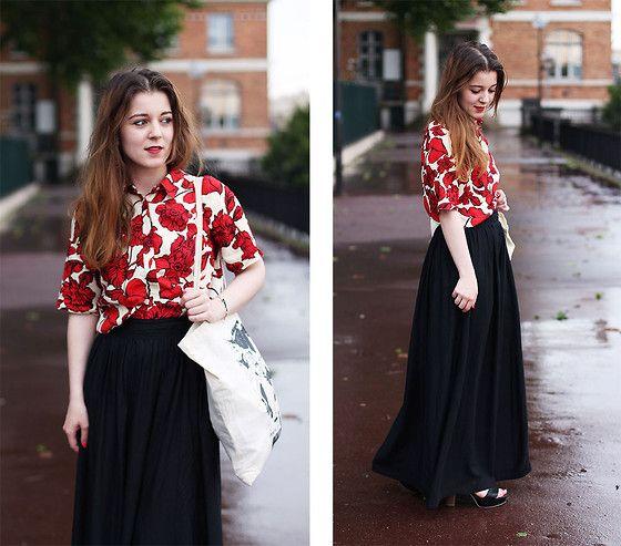 Primark Black Skirt, Primark Printed Shirt, Coolandthebag Tote Bag, Clarks Heels