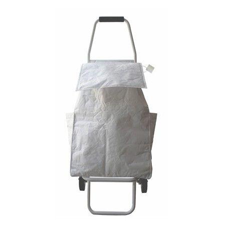 Le Tyvek® cumule les bons points : non-tissé indéchirable, recyclable, résistant à l'eau, son aspect « papier froissé » blanc virginal si caractéristique séduit les non-conformistes. L'alliance d'un sac de 40L isotherme et d'une structure légère en aluminium pliable en 3 gestes et munie de roues robustes en fait un accessoire de mode qui respecte l'environnement !