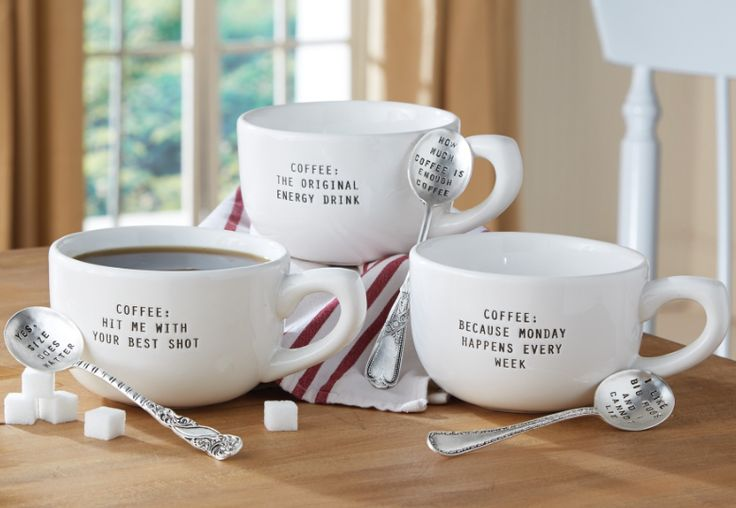 Wake up to our new mug and spoon set by Mudpie. Hit me with your best shot!
