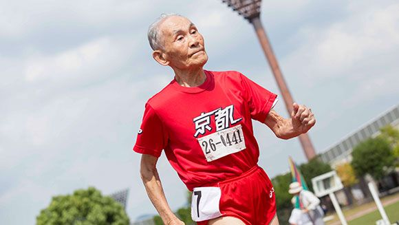 Japan's Hidekichi Miyazaki breaks his own record after running the 100m at the Kyoto Masters Athletics Autumn Competition.