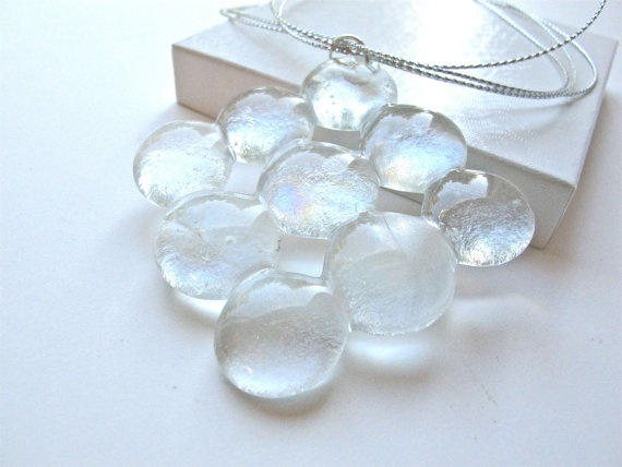 Crystal Clear Fused Glass Statement Pendant Necklace by Glassimo, $25.00