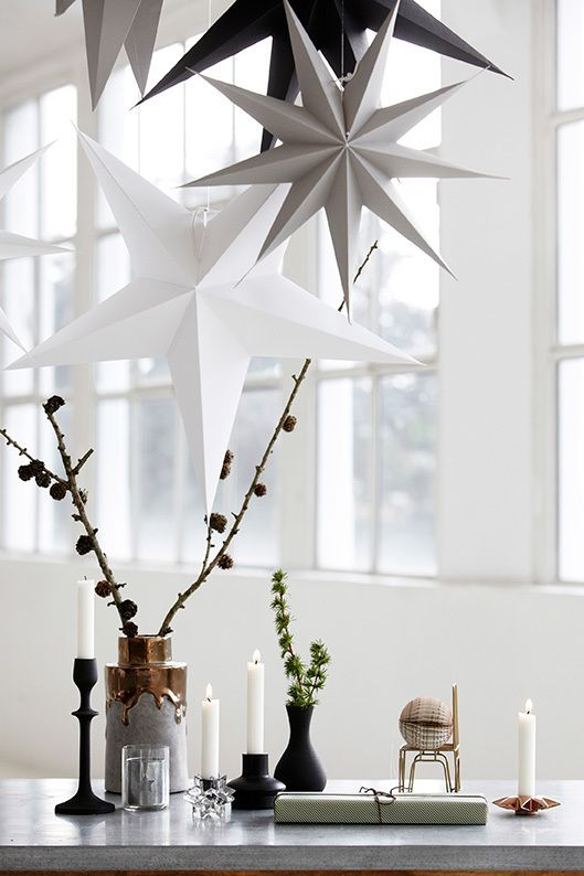 Design Vintage | White Cardboard Star | Hanging Star | Large Star