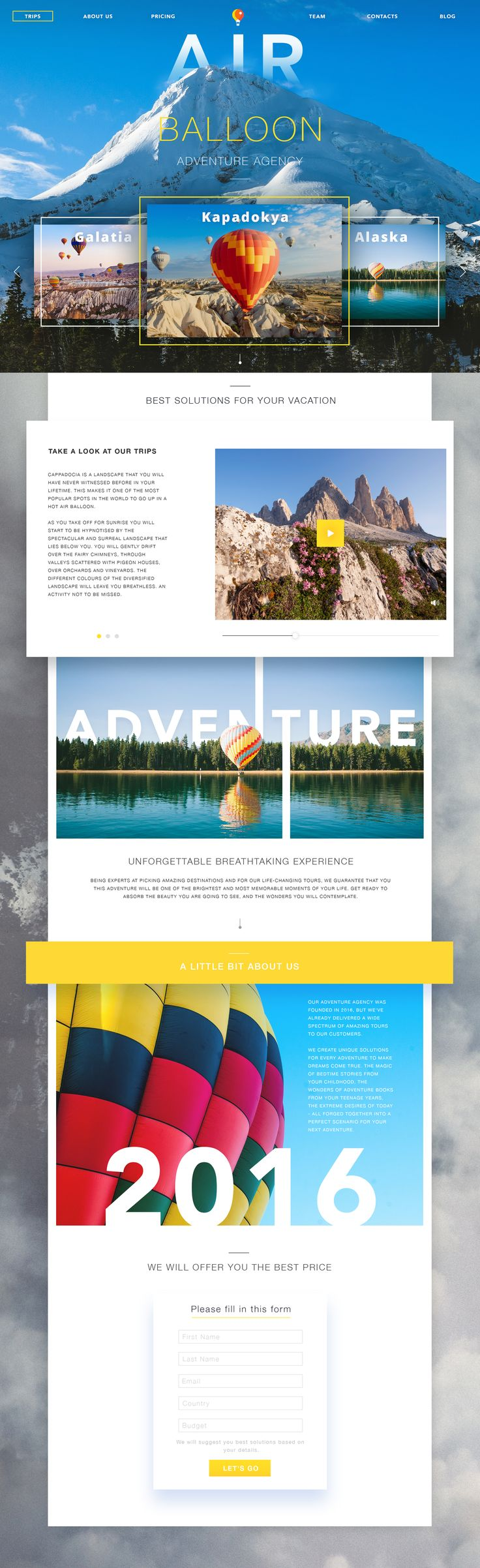 Adventure agency website tubikstudio