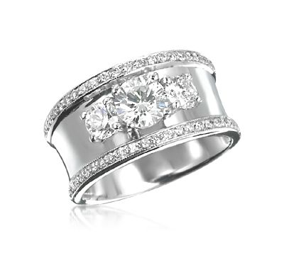 Wide Band 3 Stone Ring With Pave Trim In 2018 Ideas Rings Jewelry Diamond