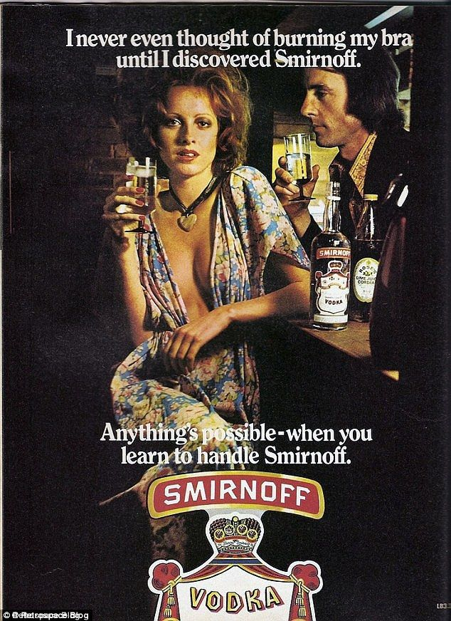 A dig at the feminists: This advert suggests that drinking vodka might cause a woman to disrobe