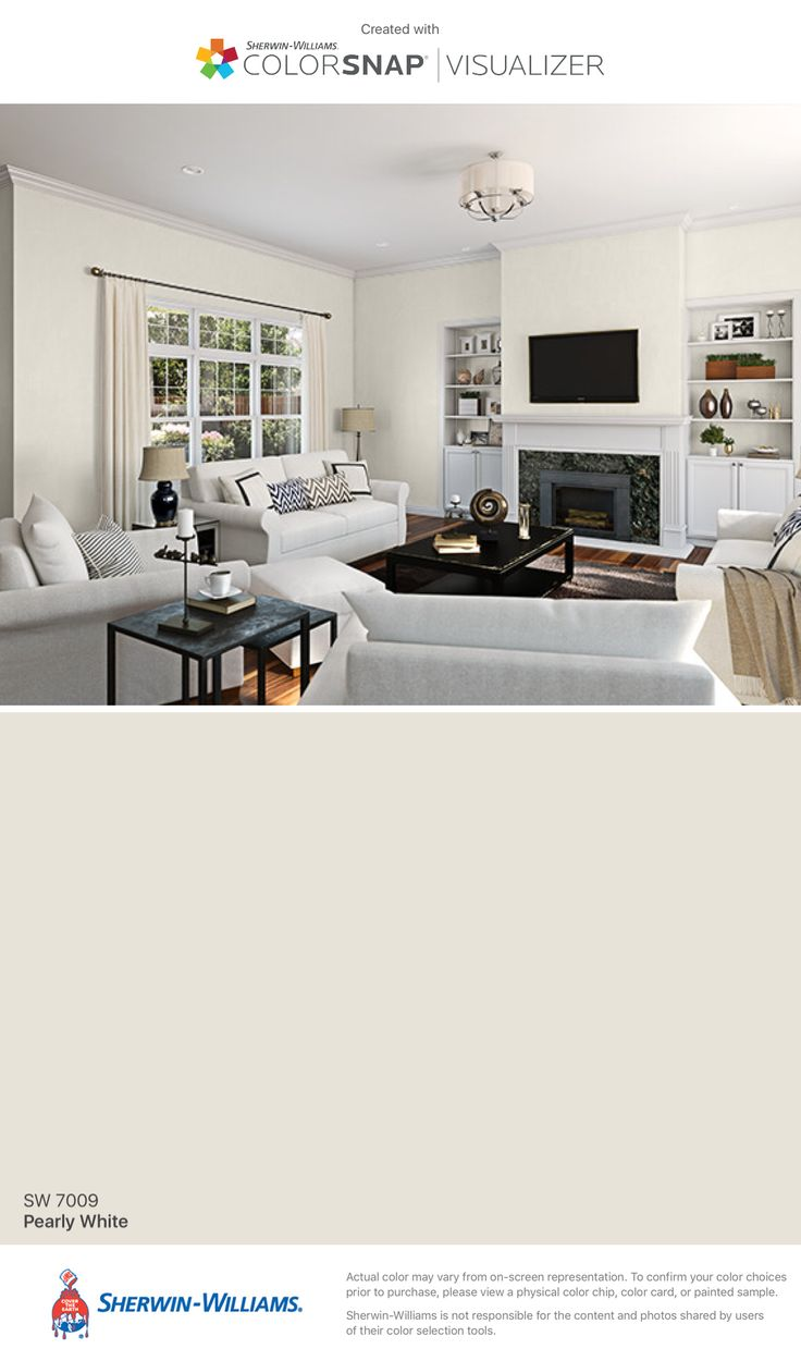I Found This Color With Colorsnap Visualizer For Iphone By Sherwin Williams Pearly White Sw 7009 Paint Colors For Home Paint Color App Room Paint Colors Room design colour app