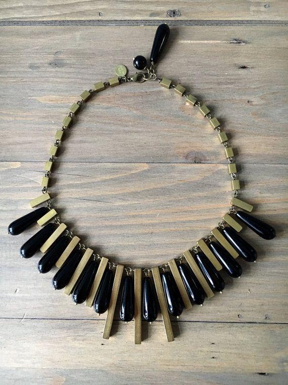 Black Nefertari necklace  rectangle brass spacers by RafaPeinador