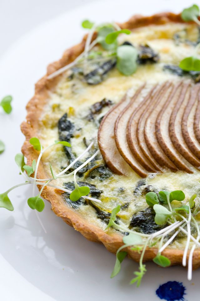 swiss chard, pear and comte tart