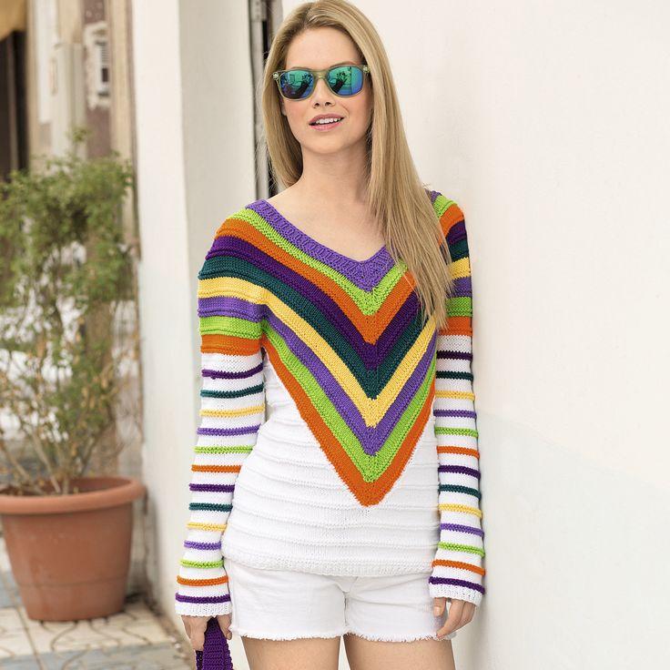 Пуловер с полосатой V-образной кокеткой - схема вязания спицами. Вяжем Пуловеры на Verena.ru