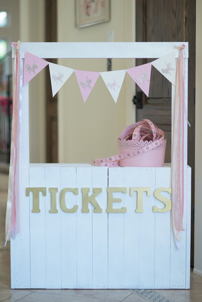 Ticket Booth from a Pink Carousel Birthday Party via Kara's Party Ideas! KarasPartyIdeas.com (20)