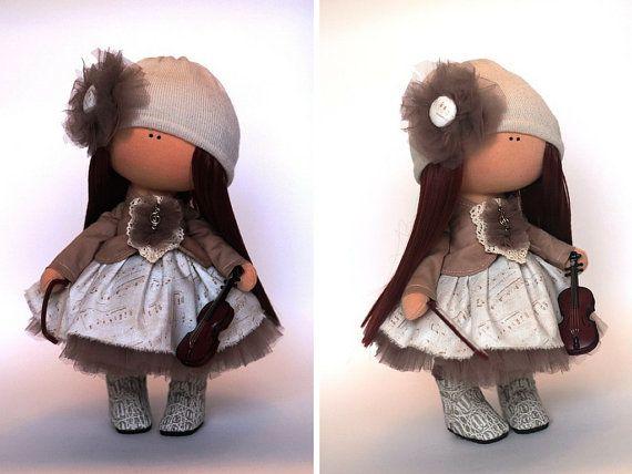 Rag doll Fabric doll Summer doll handmade brown color Soft doll Cloth doll Baby doll Tilda doll Interior doll by Master Yulia Grigorieva