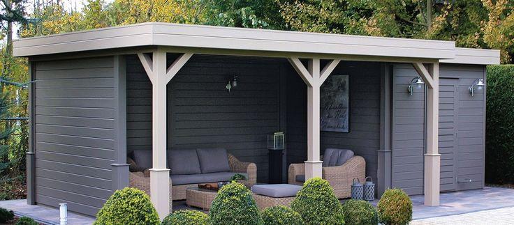 Tuinhuis / berging met plat dak en grote overkapping model Prima Jake 240 x 180 cm / 28 mm van Lugarde