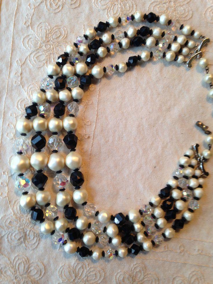 Multi Strand necklace, multi strand beaded necklace,  Laguna faux pearl, aurora borealis, multi strand necklace, black and white necklace by DuckCedar on Etsy