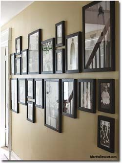 2 Rows Layout: Horizontal Alignment. Mix different sizes of frames. Align the edges of the frames. Black frames, white matting Recommend collage format - pictures of weddings, History about business, etc?