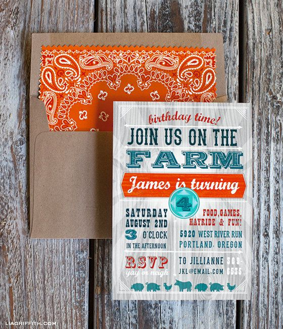 Farm Party Invitation and Envelope Liner by LiaGriffith on Etsy love the colors!