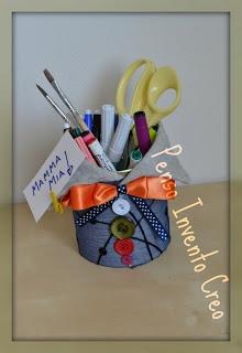 penso+invento+creo: Regalo per la Festa della Mamma, Porta penne FAI DA TE con Barattolo del CAFFE