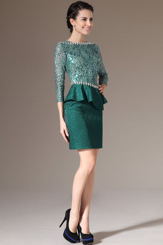 Custom Made New Green Lace Top  Sleeves Formal Mother by STHNAB
