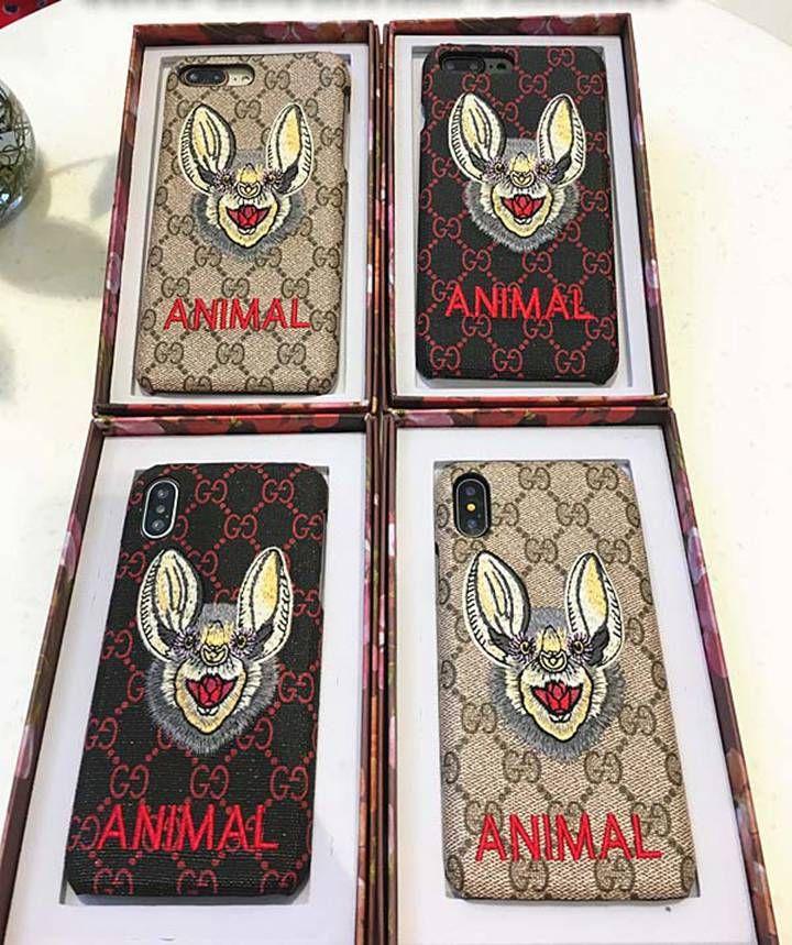 グッチ パロディ iphoneXケース GGスプリーム iphone8 8プラスケース GUCCI iphone7カバー アニマル 刺繍