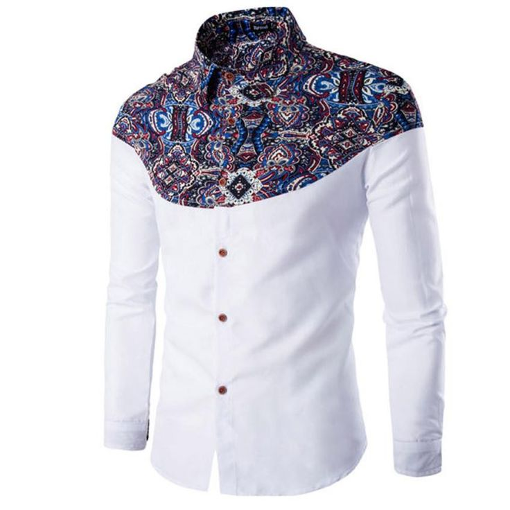 2017 Fashion Mens Clothes Slim Fit Long Sleeve Print Patchwork Button Casual